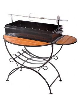 Мангал для дачи МД-2 с деревянными столиками