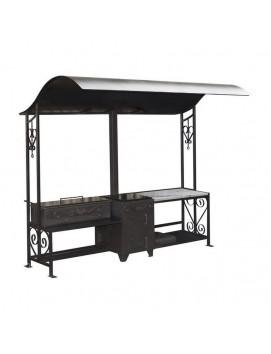 Мангал «Шеф-повар со светлым гранитным столом»