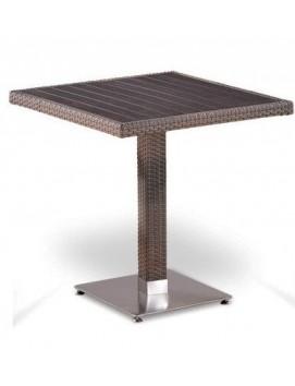 Стол Афина T502DG из искусственного ротанга с деревянной столешницей, 70 см