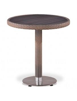 Стол Афина T501DG из искусственного ротанга с деревянной столешницей, 70 см