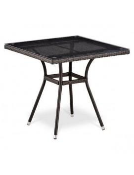 Стол Афина T283BNT из искусственного ротанга со стеклянной столешницей, 80 см