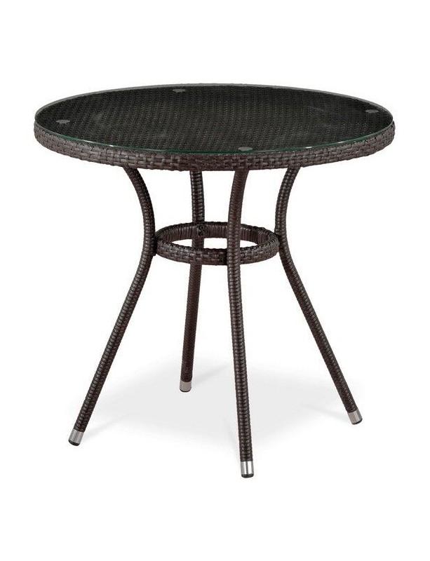 Стол  Афина T283ANT из искусственного ротанга со стеклянной столешницей, 80 см