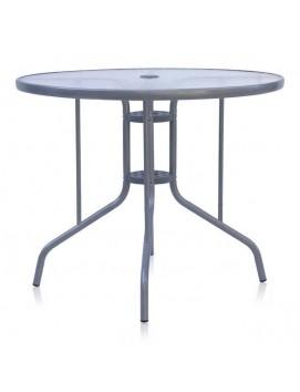 Стол Афина D90 металлический со стеклянной столешницей, 90 см