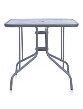 Стол Афина L80 металлический со стеклянной столешницей, 80 см