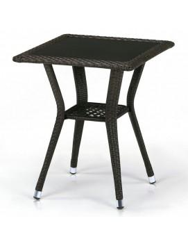 Стол Афина T25A из искусственного ротанга со стеклянной столешницей, 50 см