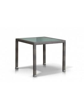 Стол Бари из искусственного ротанга со стеклянной столешницей, 90 см