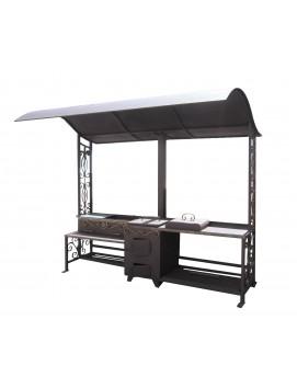 Мангальный комплекс - миникухня «Шеф-повар new» со столом, печью, супержаровней и единой крышей