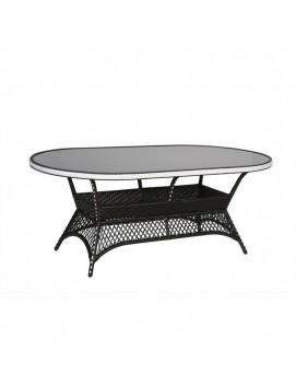 Стол обеденный овальный Монсанто из искусственного ротанга со стеклянной столешницей, 180 см