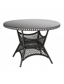 Стол обеденный круглый Монсанто из искусственного ротанга со стеклянной столешницей