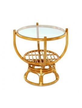 Стол Теодор из натурального ротанга со стеклянной столешницей, 65 см