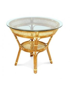 Стол Java из натурального ротанга со стеклянной столешницей, 84 см