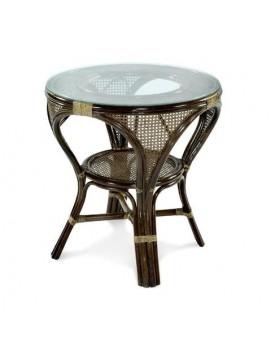 Стол Мокко L из натурального ротанга со стеклянной столешницей, 78 см