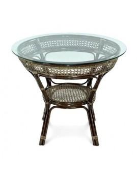 Стол Ellena из натурального ротанга со стеклянной столешницей, 84 см