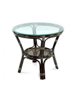 Стол Ellena из натурального ротанга со стеклянной столешницей, 55 см