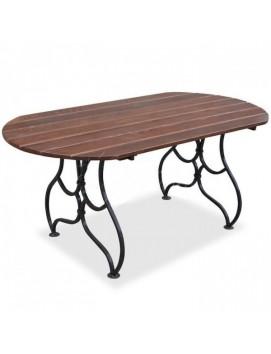 Стол Богема металлический с деревянной столешницей, 150/180 см
