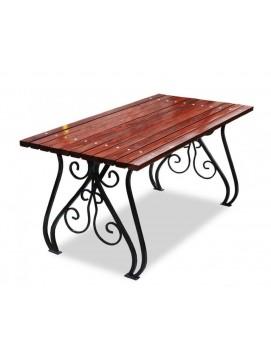 Стол Вена металлический с деревянной столешницей, 120-300 см