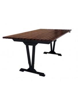 Стол Модерн металлический с деревянной столешницей, 200/300 см