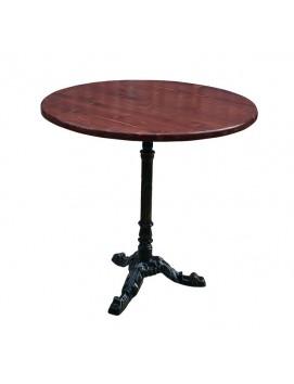 Стол Кафе чугунный с деревянной столешницей,80 см