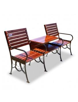 Скамейка модульная Дуэт деревянная на стальном каркасе, 200 см