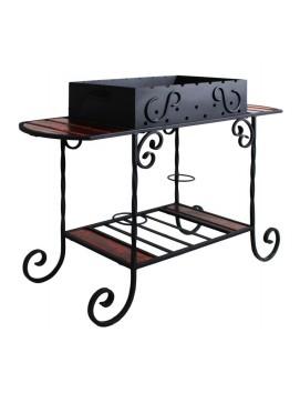 Дачный мангал ММ-21 со столиками и красивой ковкой