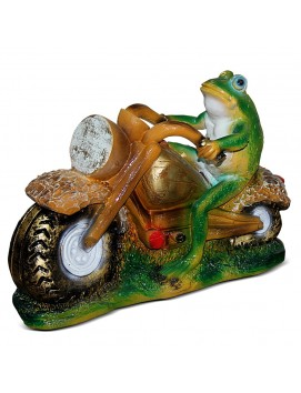 Садовая фигура Лягушка-мотоциклист