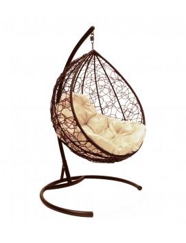 """Подвесное кресло-кокон """"Капля"""" ротанг коричневый"""